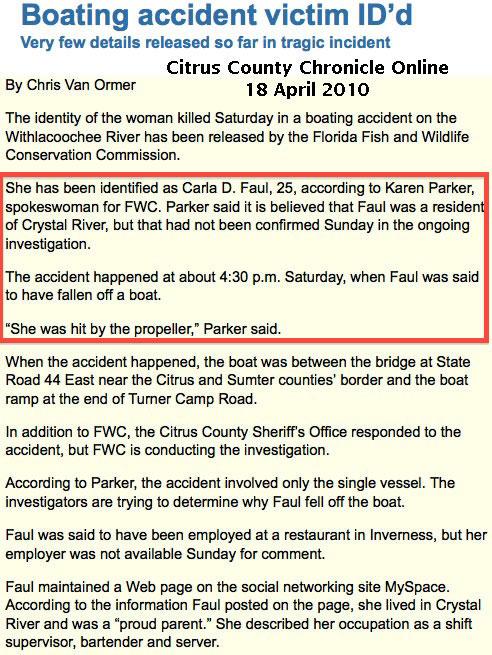 U S  Coast Guard 2010 BARD Unreported Propeller Accidents