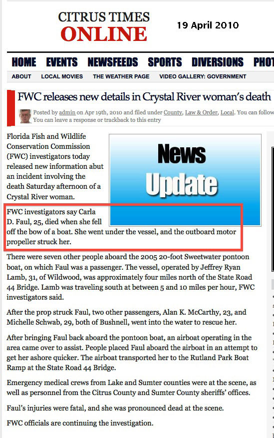FWC Releases New Details in Crystal River Woman's Death