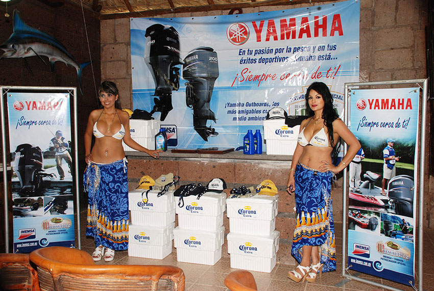 Yamaha Mexico with Corona girls in their display booth