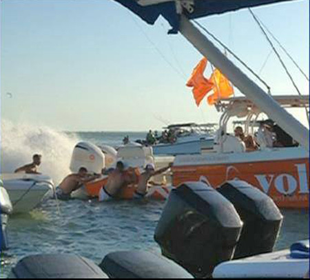DJ Laz's boat being pushed from sandbar just prior to the accident