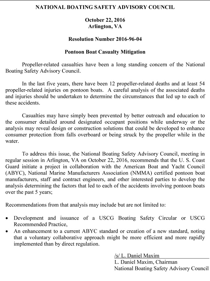 NBSAC96 Pontoon Boat Propeller Safety Resolution