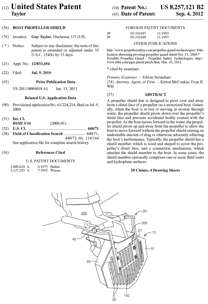 U.S. Patent 8,257,121 - 3PO Propeller Shield