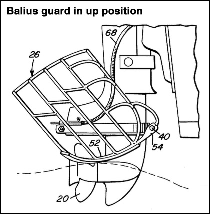 Balius propeller guard in up position. US Patent 3,889.624