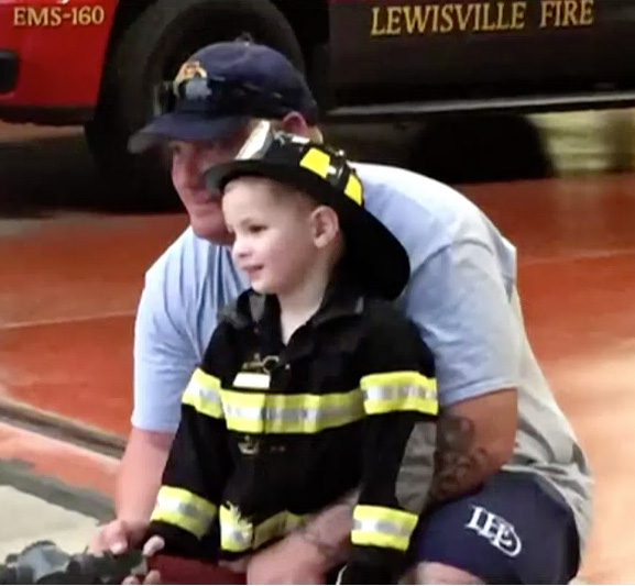 Aiden Mckitrick and his dad before the accident