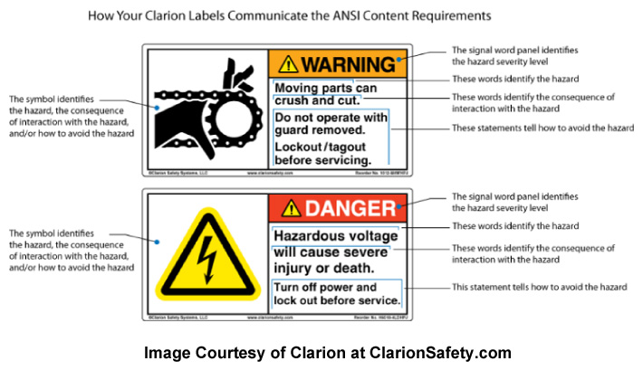 ANSI Z535 Warning Label Examples by Clarion