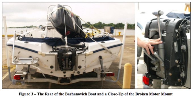 Mark Barhanovich's center console fishing boat. Photo from Edward Fritsch expert witness report