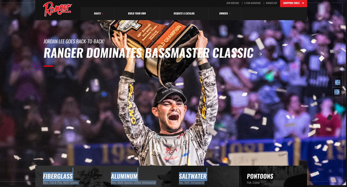 Jordan Lee, 2018 Bassmaster Classic champion, image on Ranger boats website