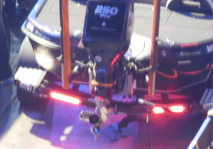 The Leash on Chris Lane's boat during Bassmaster Classic 2016 Day 2 weigh-in