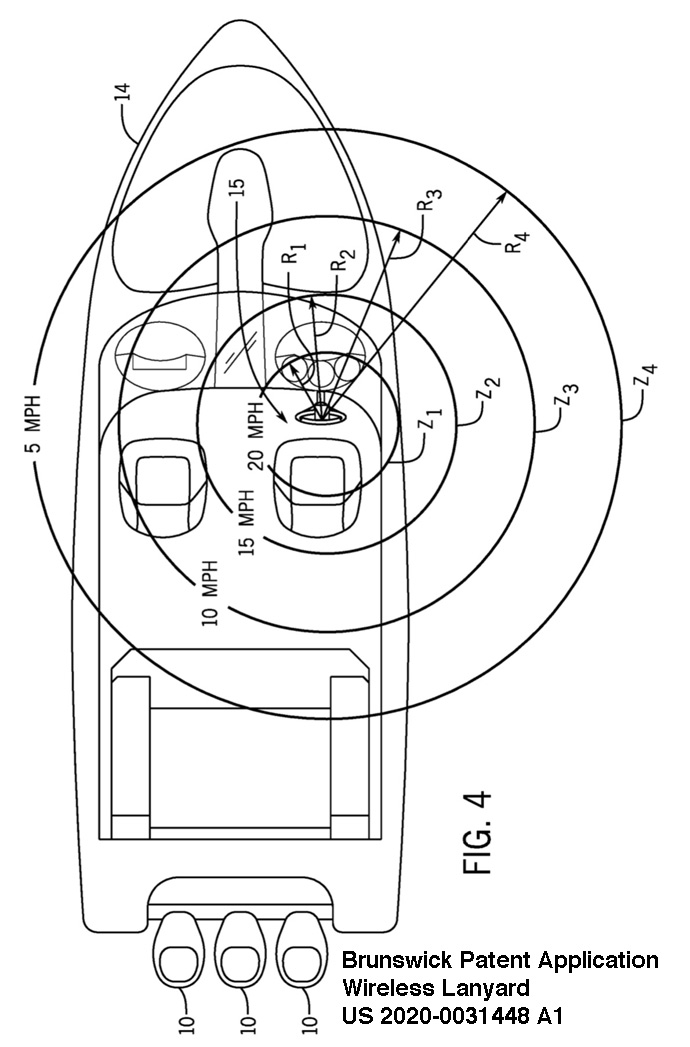 Brunswick wireless lanyard patent application sketch showing possible ranges