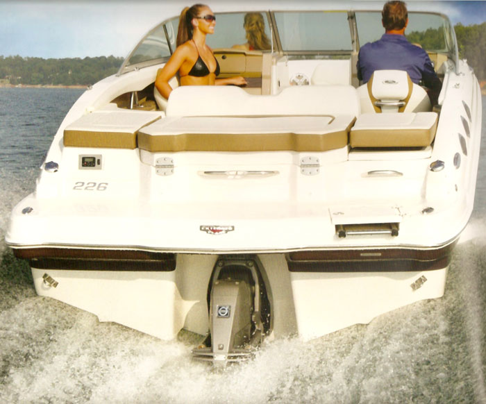 Chaparral 226 boat swim platform seats and stern drive from their 2013 catalog