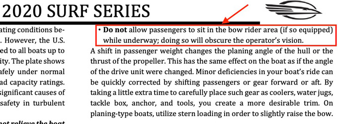 Chaparral boat 2020 Surf Series operators manual pg.52 cropped