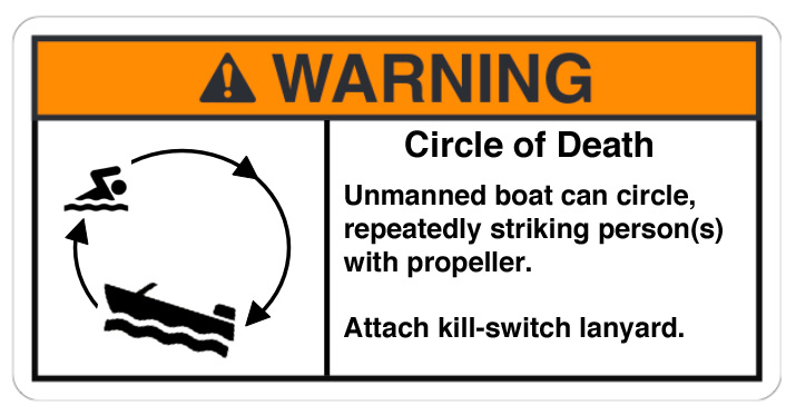 Example of a Circle of Death warning