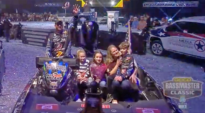 Ott Defoe & family in 2019 Bassmaster Classic after his win