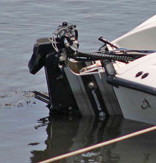 Transom of Todd Iwamoto's boat