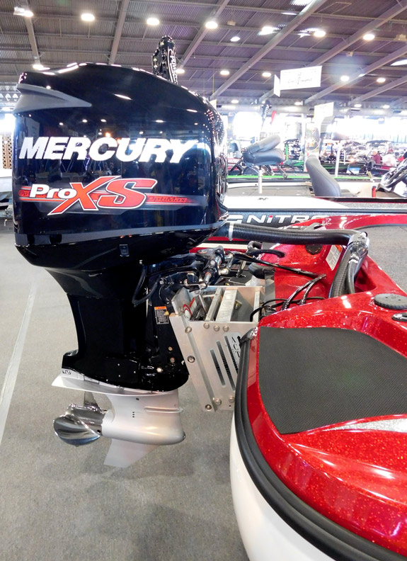 Mercury outboard on jack plate. 2017 Tulsa Boat Show.