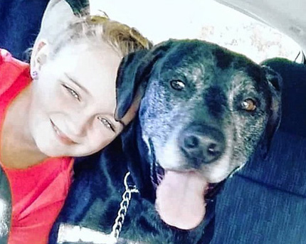 Kaelynne Driscoll and her dog, Ditch