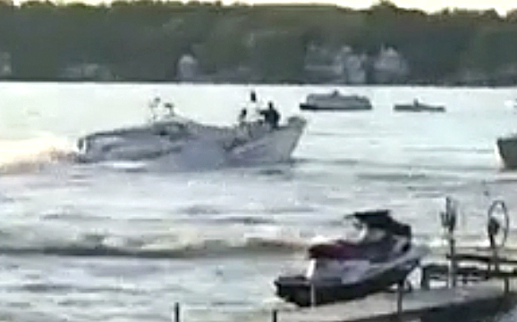 Lake Gage boat accident DNR boat impact still #2 from WFLA video