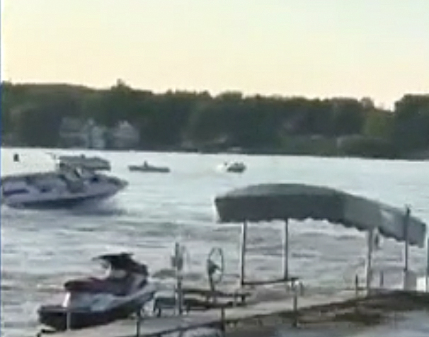 Lake Gage boat accident DNR boat impact still #3 from WFLA video