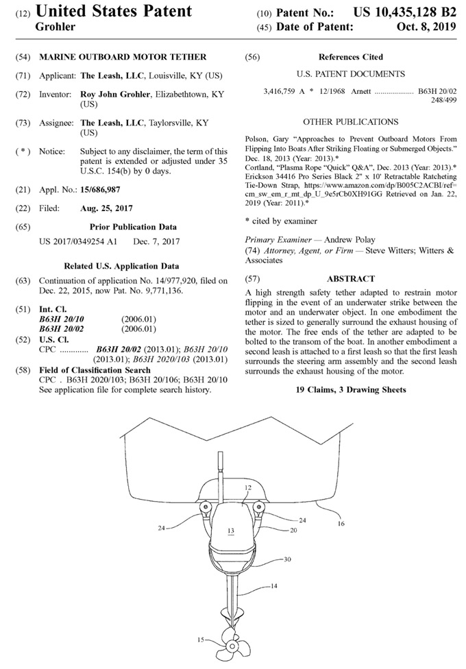 The Leash, U.S. Patent 10,435,128