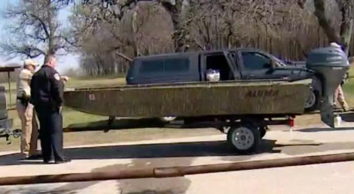 Matthew Meinert's jon boat clipped from WFAA video