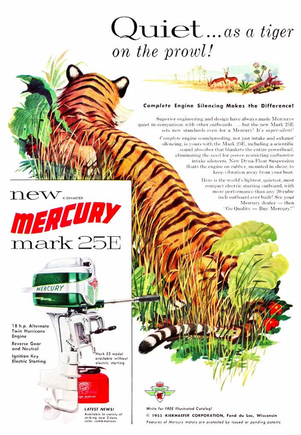 Mercury / Kiekhaefer Corporation outboard ad featuring a tiger in 1955