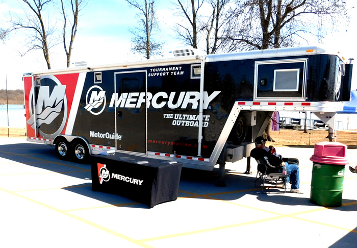 Mercury Marine fishing tournament support trailer at Bassmaster Classic 2016 on Grand Lake.