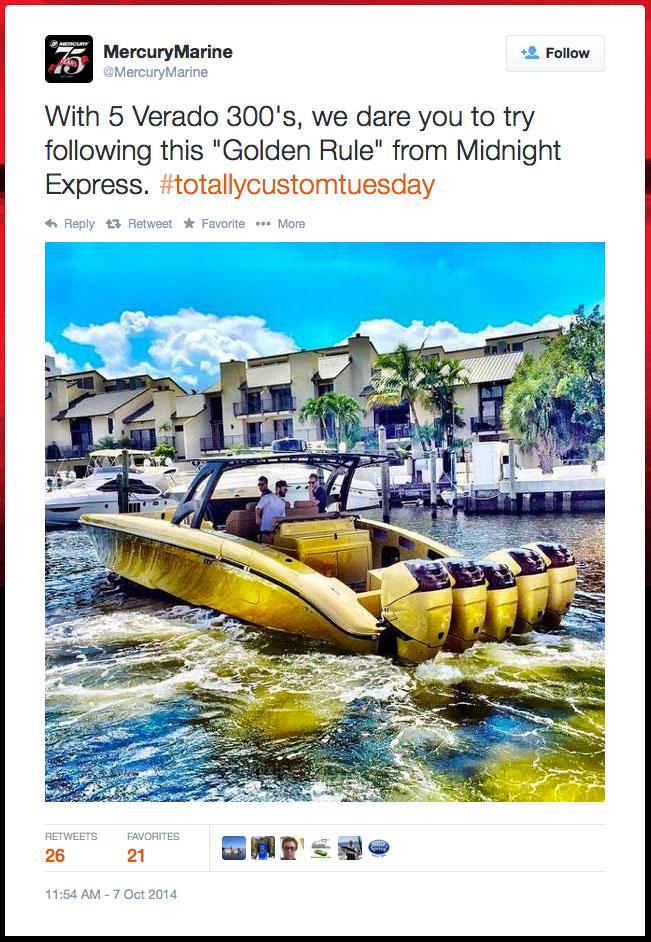 Midnight Express boat, The Golden Rule, Mercury Marine tweet.