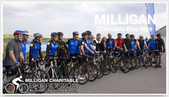 Cyclists in Milligan Charity Ride
