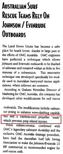 OMC propeller guard in Australia SLSAA