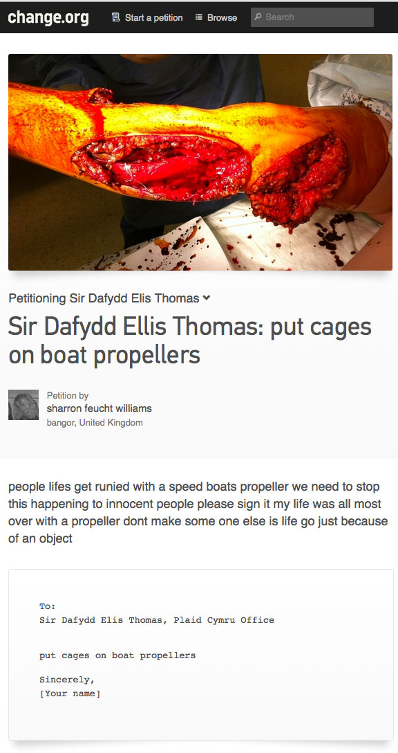 UK Petition to Put Cages on Boat Propellers