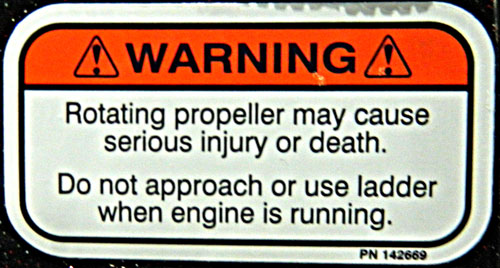 Propeller Warning Decal with large rounded edges