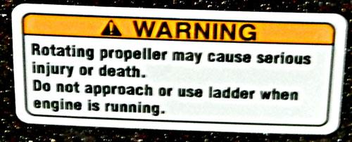 Propeller Warning Decal yellow