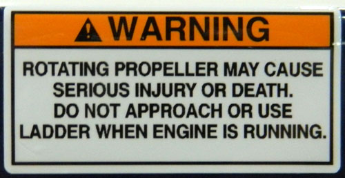 Propeller Warning Decal all caps