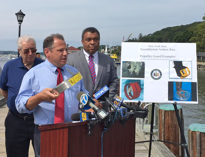 New York Assemblyman Raia holding Propeller Guard Press Conference image clipped from CBSNY image