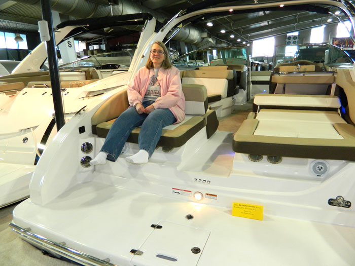 Lora on Regal boat swim platform seat