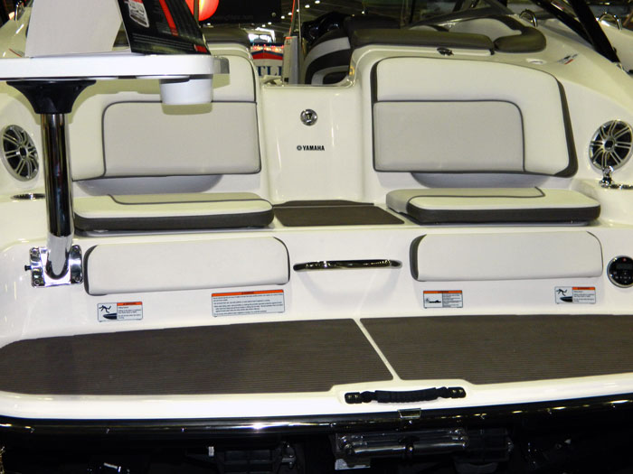 Swim platform seats with tray on Yamaha jet boat