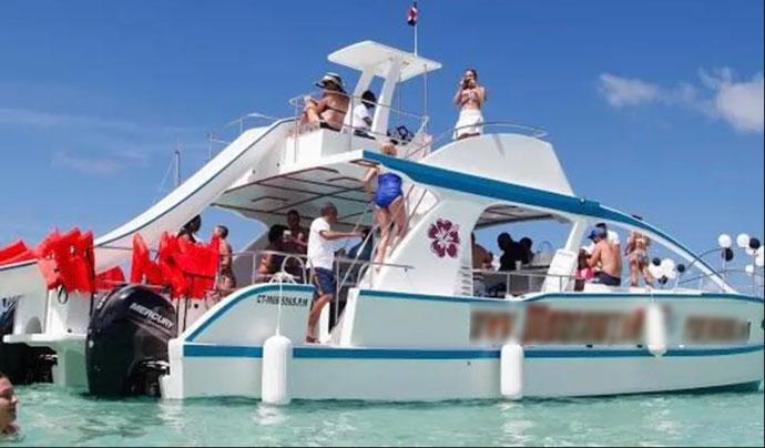 Catamaran with slide