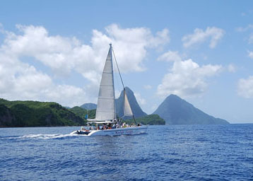 Sea Spray sail catamaran near the Pitons.