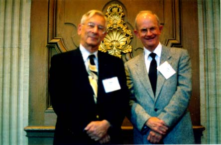 Edgar Rose (left) and Charlie Strang (right) at 25 September 1997 OMC press conference in Chicago. photo by Gary Polson
