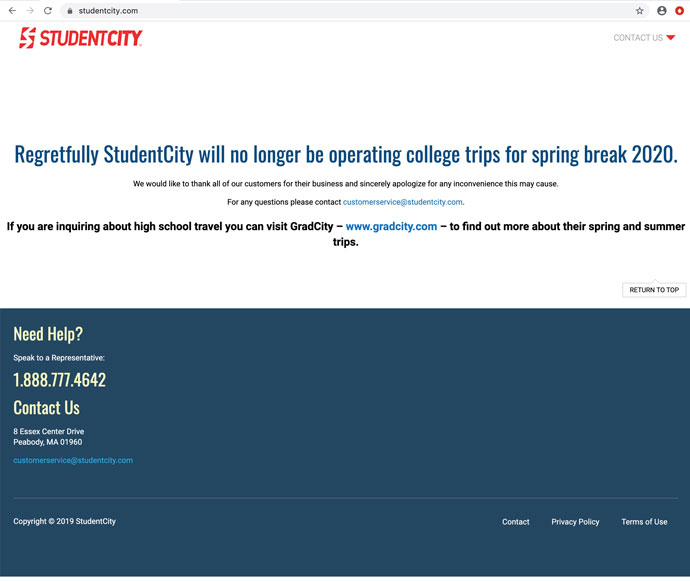 StudentCity website November 2019 after the March 2019 propeller accident