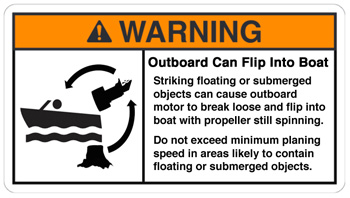 Outboard can strike submerged object, break off, and flip into the boat warning