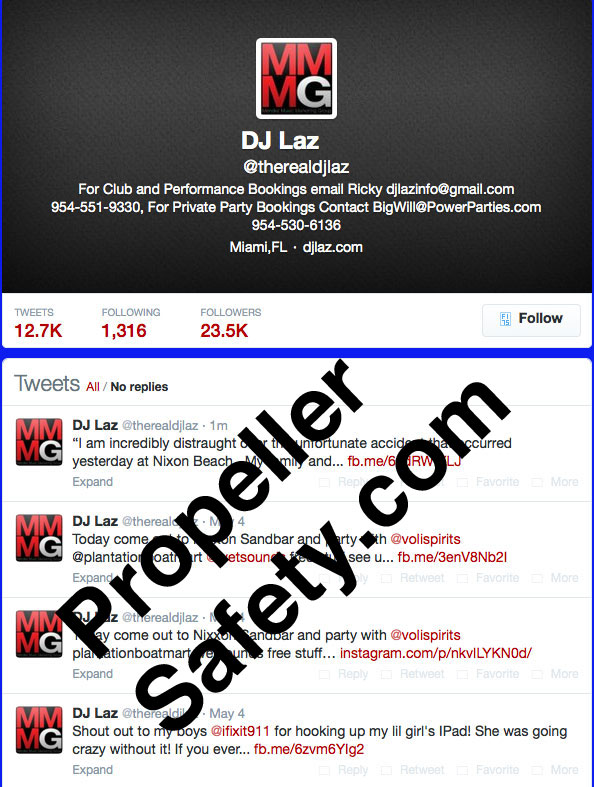 Image of DJ Laz's Twitter account that was shutdown