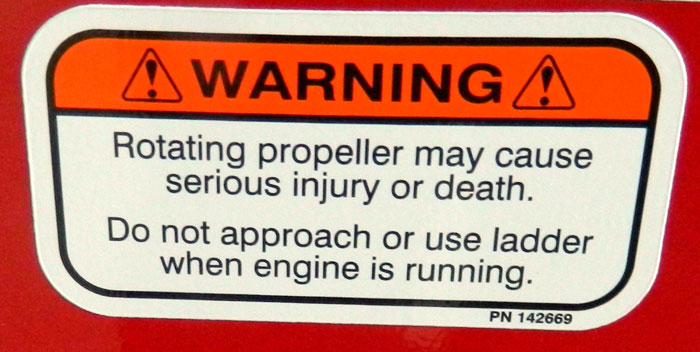 Propeller warning at 2013 Tulsa Boat Show