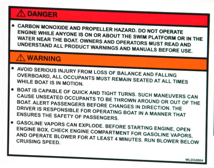 Propeller warning along with four other warnings on same label at 2013 Tulsa Boat Show.