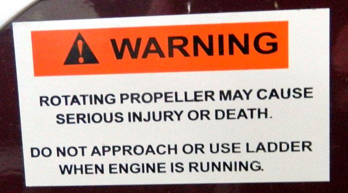 Propeller warning from 2013 Tulsa Boat Show - no borders