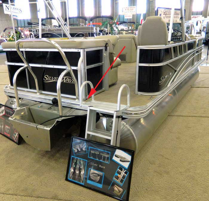 Placement Of Propeller Warning Decal On Pontoon Boat At 2013 Tulsa Show Viewed From A