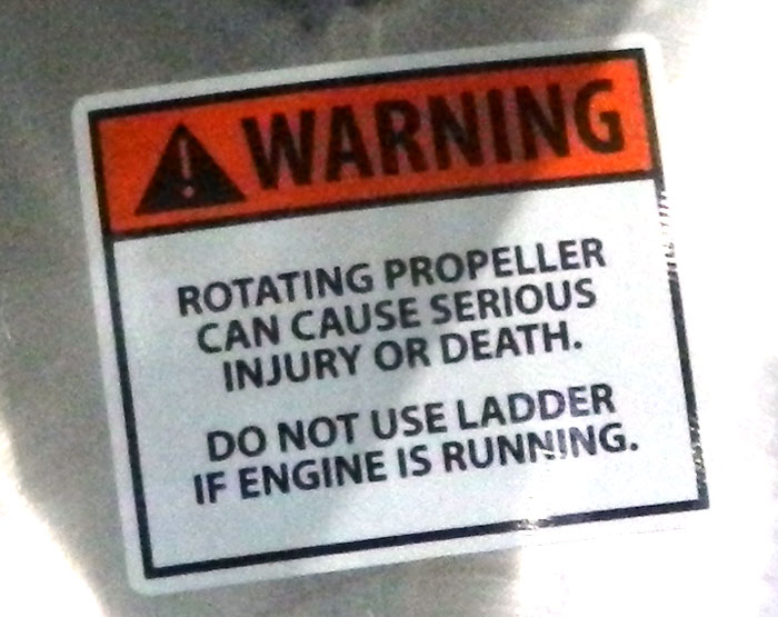 Propeller warning on pontoon boat at 2013 Tulsa Boat Show