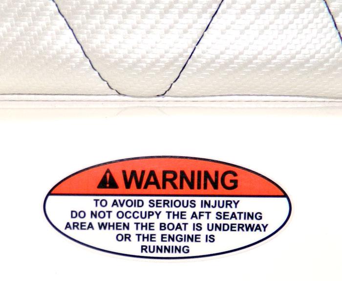 Rear facing seat warning at 2013 Tulsa Boat Show - elliptical