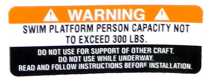 Swim platform warning at 2013 Tulsa Boat Show