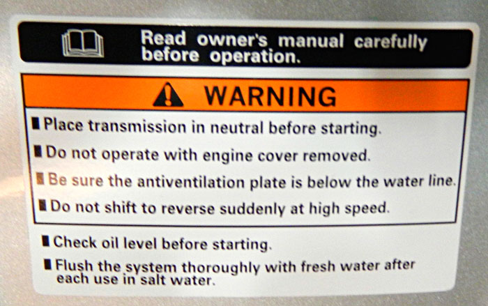 Multiple warnings. 2014 Tulsa Boat Show, including owner's manual.